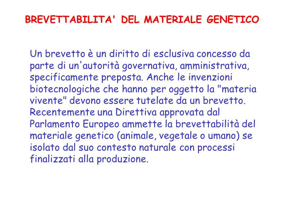 BREVETTABILITA DEL MATERIALE GENETICO
