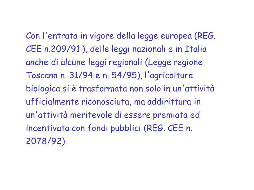 Con l entrata in vigore della legge europea (REG. CEE n
