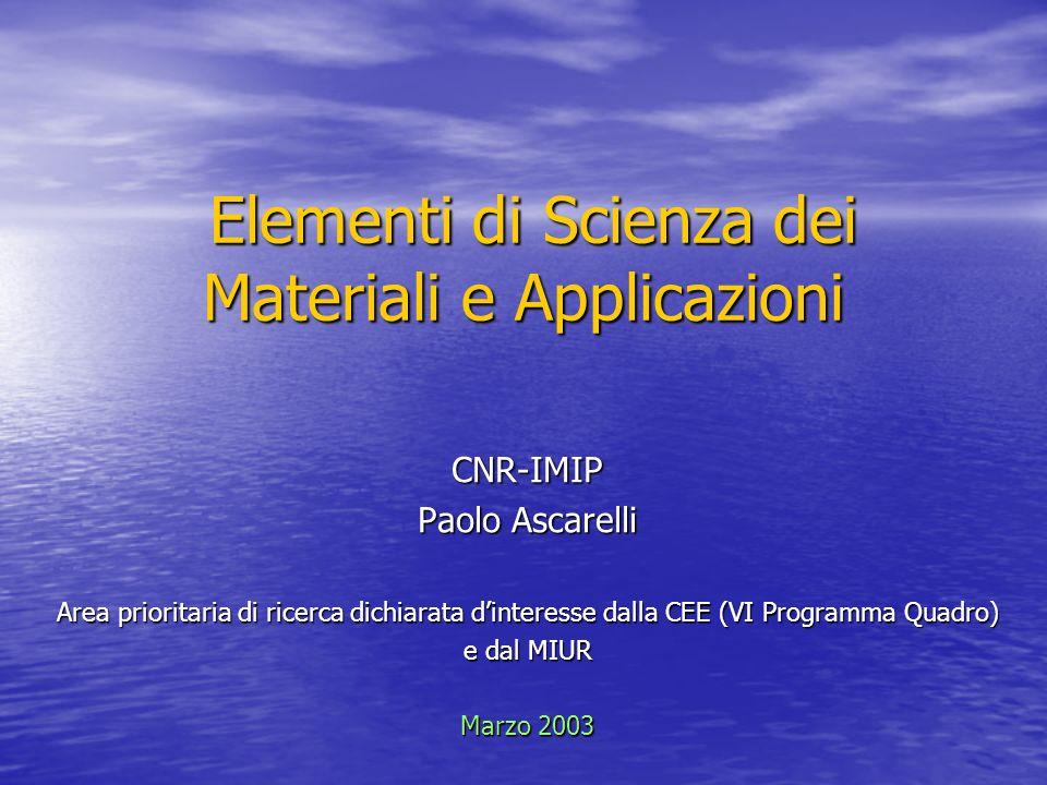 Elementi di Scienza dei Materiali e Applicazioni