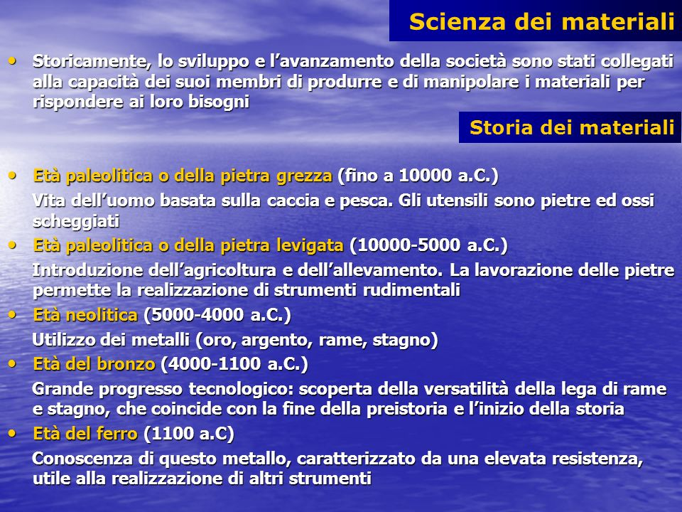 Scienza dei materiali Storia dei materiali