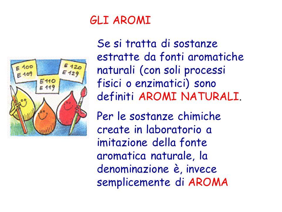 GLI AROMI Se si tratta di sostanze estratte da fonti aromatiche naturali (con soli processi fisici o enzimatici) sono definiti AROMI NATURALI.