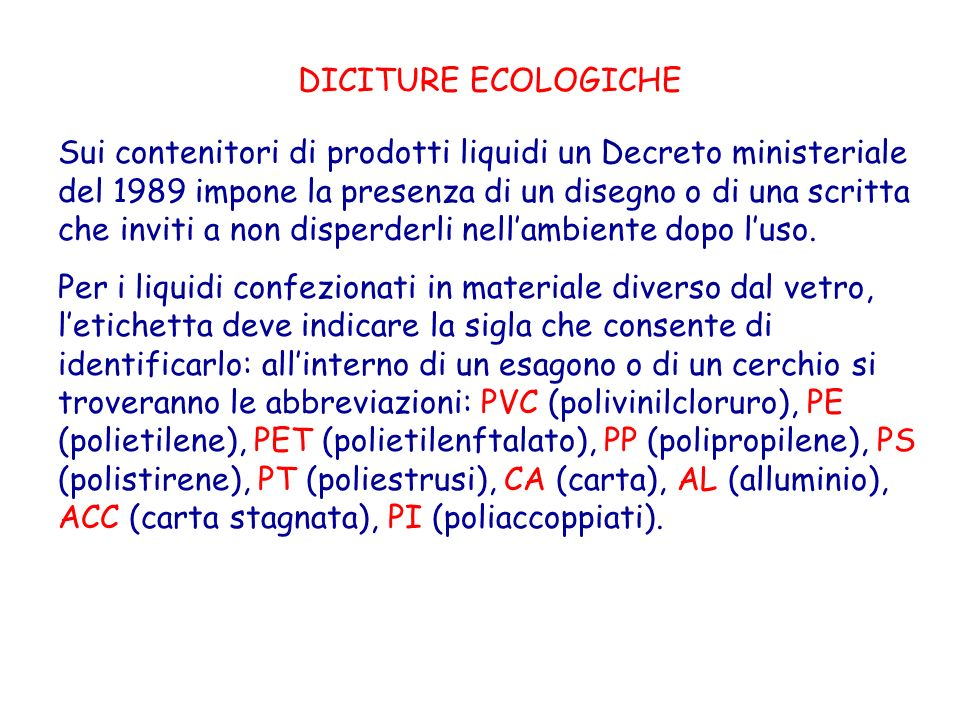 DICITURE ECOLOGICHE