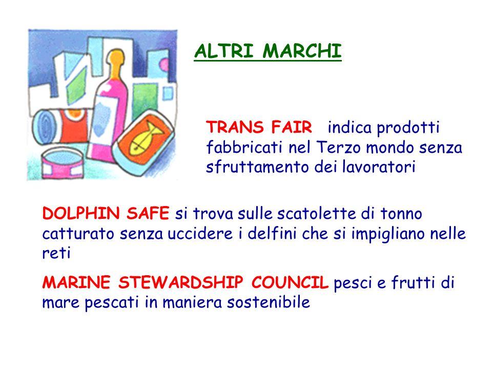 ALTRI MARCHI TRANS FAIR indica prodotti fabbricati nel Terzo mondo senza sfruttamento dei lavoratori.