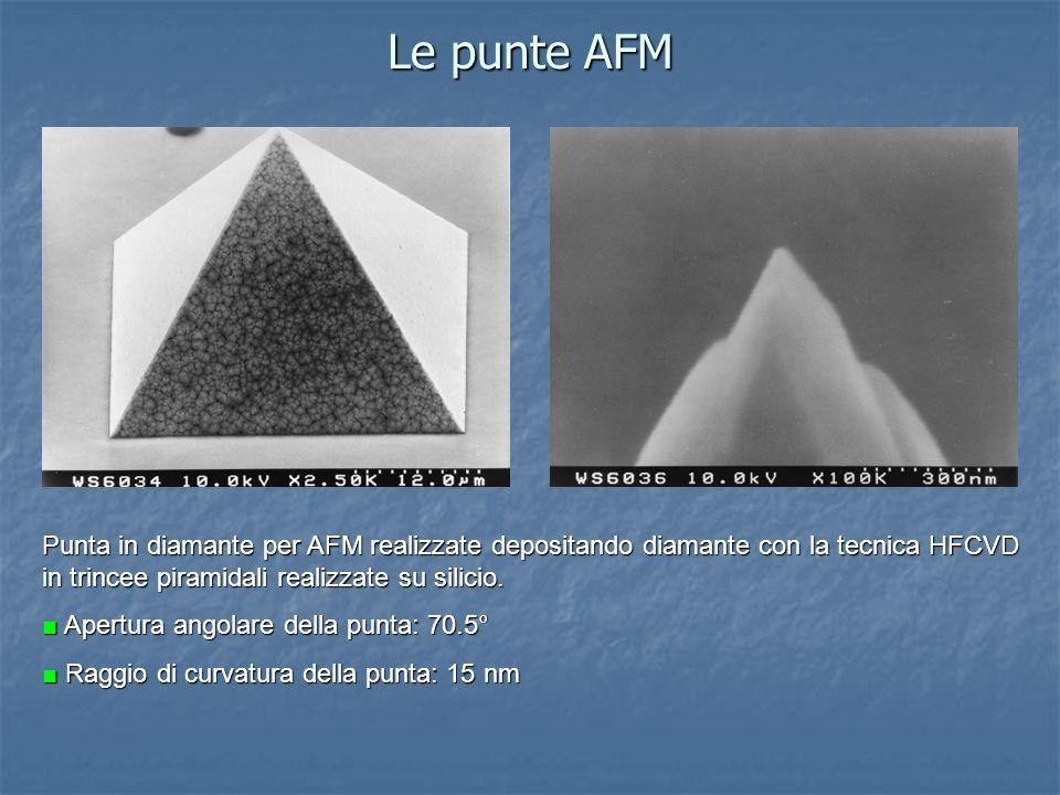 Le punte AFM Punta in diamante per AFM realizzate depositando diamante con la tecnica HFCVD in trincee piramidali realizzate su silicio.