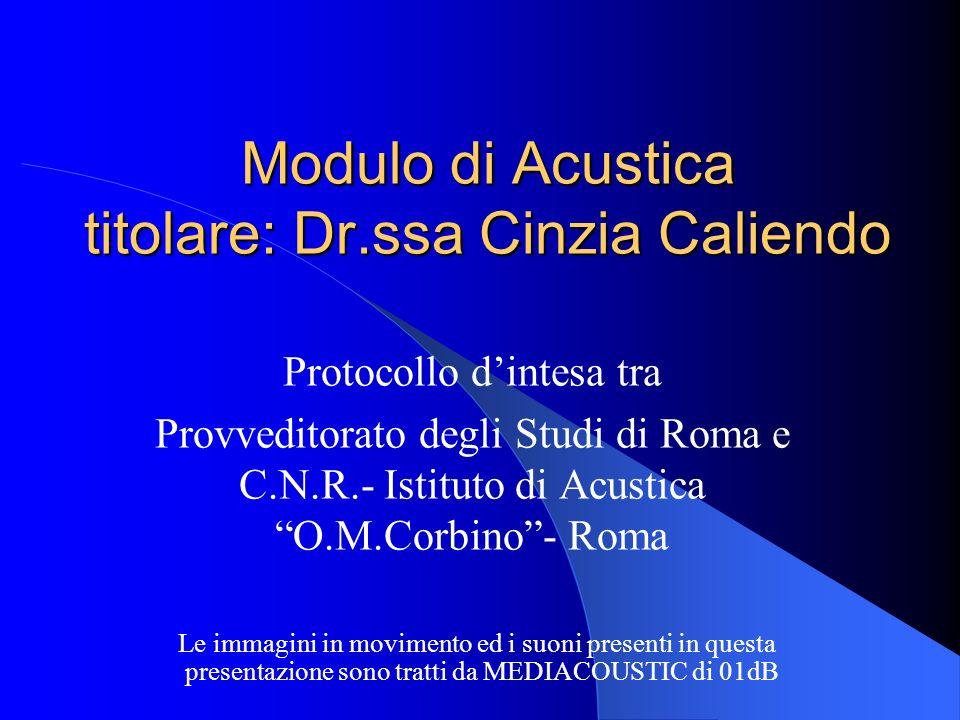 Modulo di Acustica titolare: Dr.ssa Cinzia Caliendo