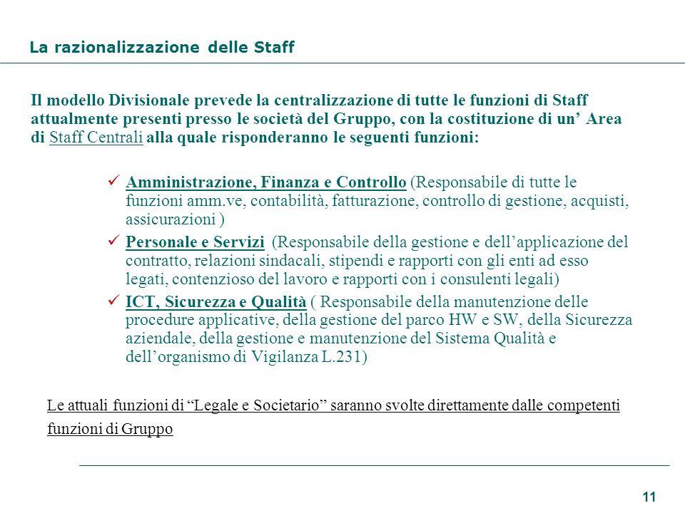 La razionalizzazione delle Staff
