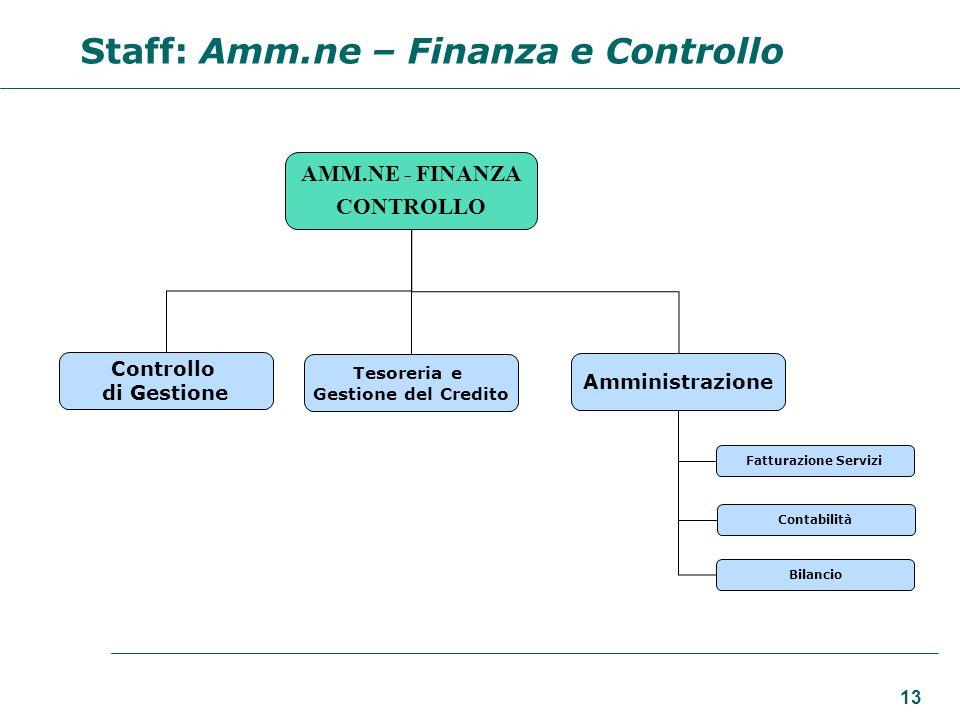 Staff: Amm.ne – Finanza e Controllo