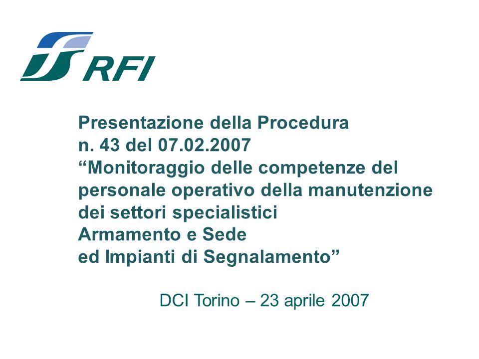 Presentazione della Procedura n. 43 del 07.02.2007