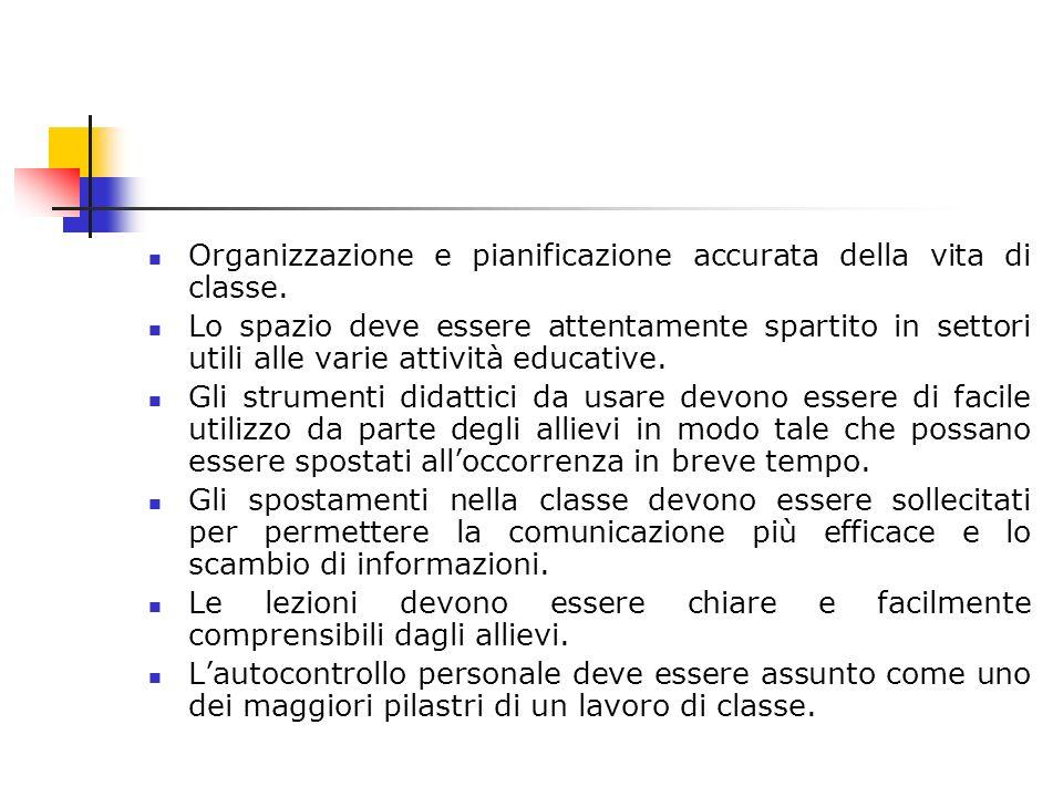 Organizzazione e pianificazione accurata della vita di classe.