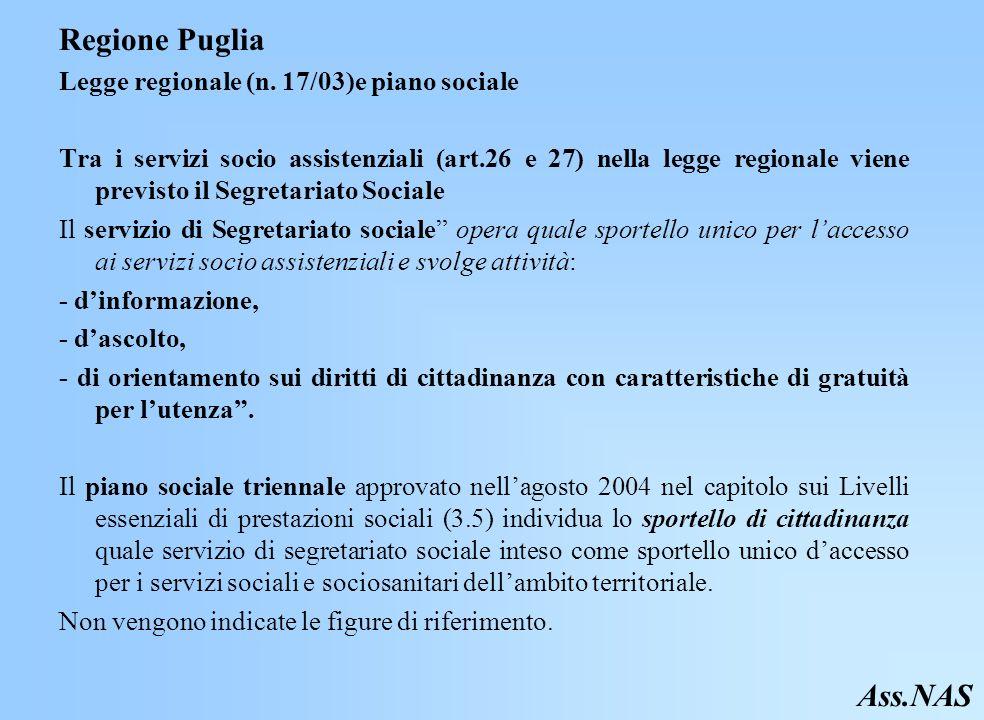 Regione Puglia Ass.NAS Legge regionale (n. 17/03)e piano sociale