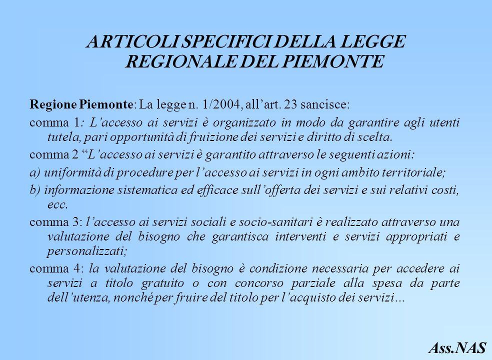 ARTICOLI SPECIFICI DELLA LEGGE REGIONALE DEL PIEMONTE