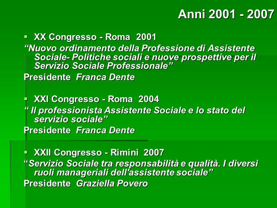 Anni 2001 - 2007 XX Congresso - Roma 2001