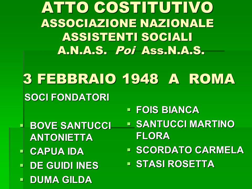 ATTO COSTITUTIVO ASSOCIAZIONE NAZIONALE ASSISTENTI SOCIALI A. N. A. S