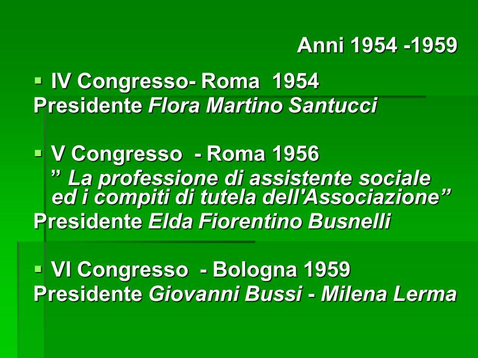 Anni 1954 -1959 IV Congresso- Roma 1954. Presidente Flora Martino Santucci. V Congresso - Roma 1956.