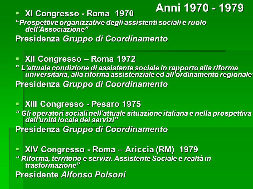 Anni 1970 - 1979 XI Congresso - Roma 1970