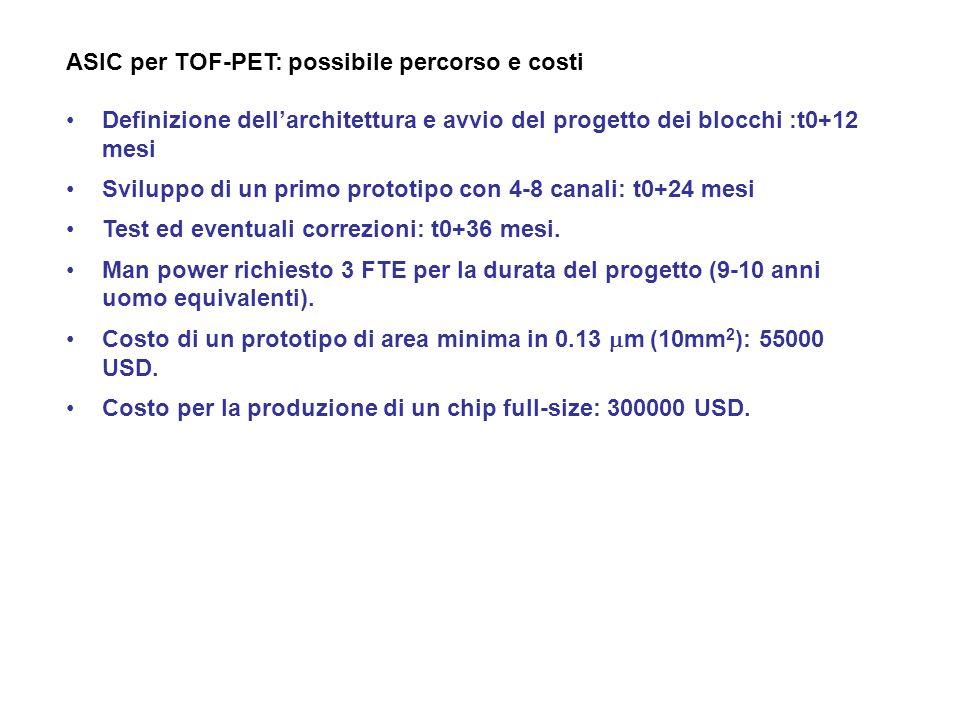 ASIC per TOF-PET: possibile percorso e costi