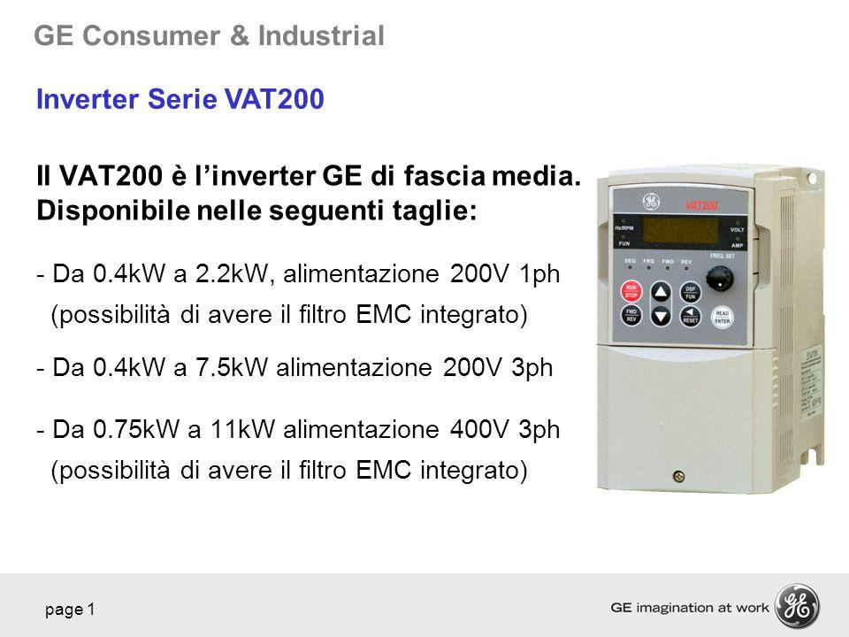 Inverter Serie VAT200 Il VAT200 è l'inverter GE di fascia media. Disponibile nelle seguenti taglie: