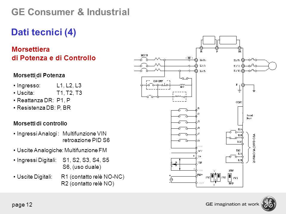 Dati tecnici (4) Morsettiera di Potenza e di Controllo