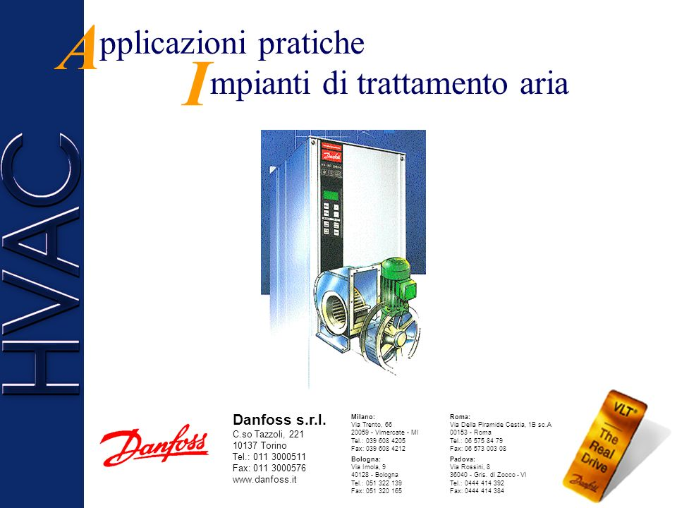 A I pplicazioni pratiche mpianti di trattamento aria Danfoss s.r.l.