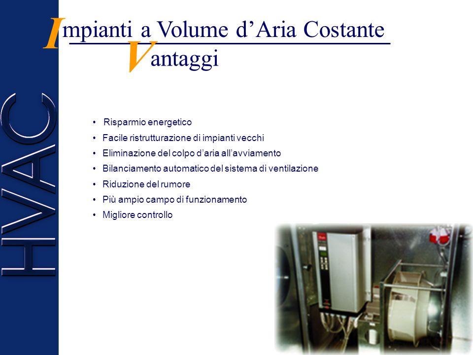 I V mpianti a Volume d'Aria Costante antaggi Risparmio energetico