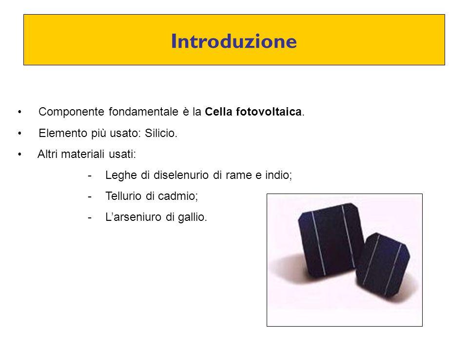 Introduzione Componente fondamentale è la Cella fotovoltaica.