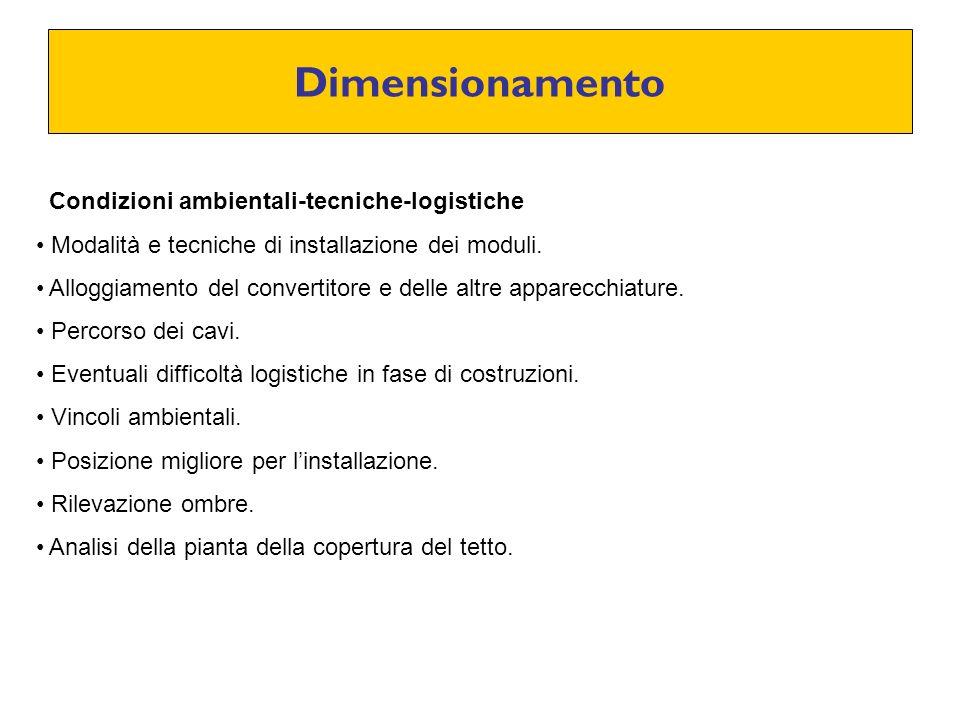Dimensionamento Condizioni ambientali-tecniche-logistiche