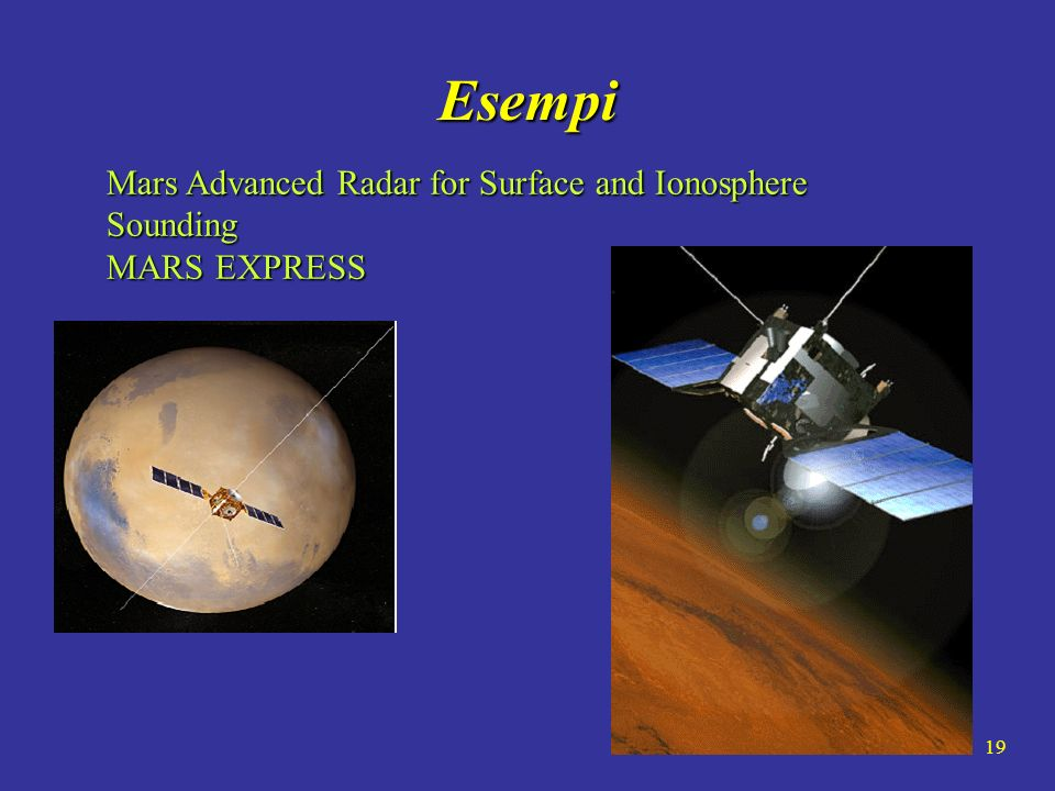 Esempi Mars Advanced Radar for Surface and Ionosphere Sounding MARS EXPRESS