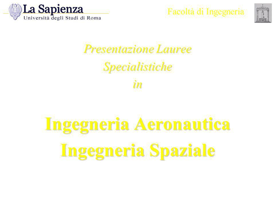 Facoltà di Ingegneria Presentazione Lauree Specialistiche in Ingegneria Aeronautica Ingegneria Spaziale.