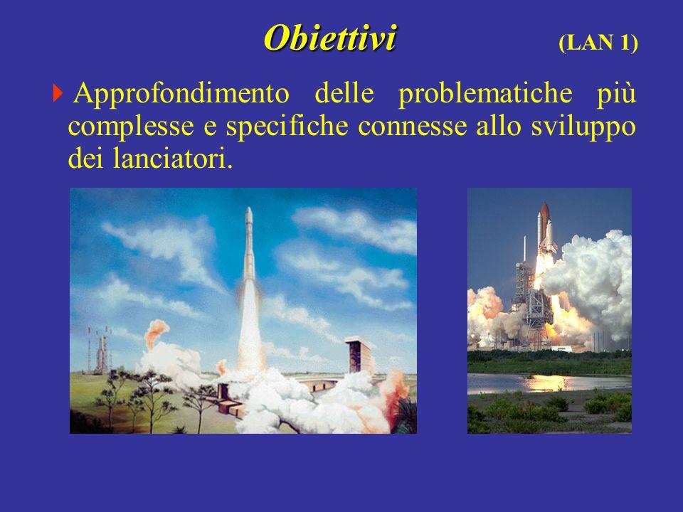 Obiettivi (LAN 1) Approfondimento delle problematiche più complesse e specifiche connesse allo sviluppo dei lanciatori.