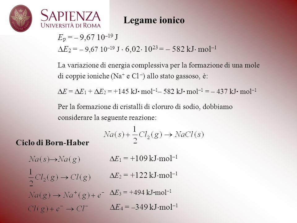 Legame ionico Ep = – 9,67 10–19 J. DE2 = – 9,67 10–19 J  6,02 1023 = – 582 kJ mol–1.
