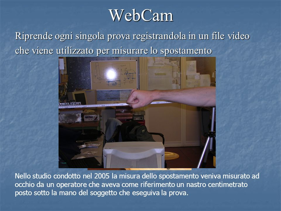 WebCam Riprende ogni singola prova registrandola in un file video
