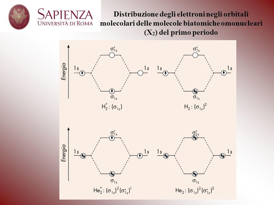 Distribuzione degli elettroni negli orbitali molecolari delle molecole biatomiche omonucleari (X2) del primo periodo