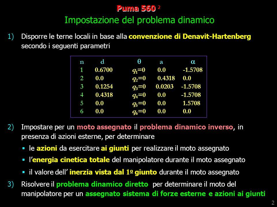 Puma 560 2 Impostazione del problema dinamico