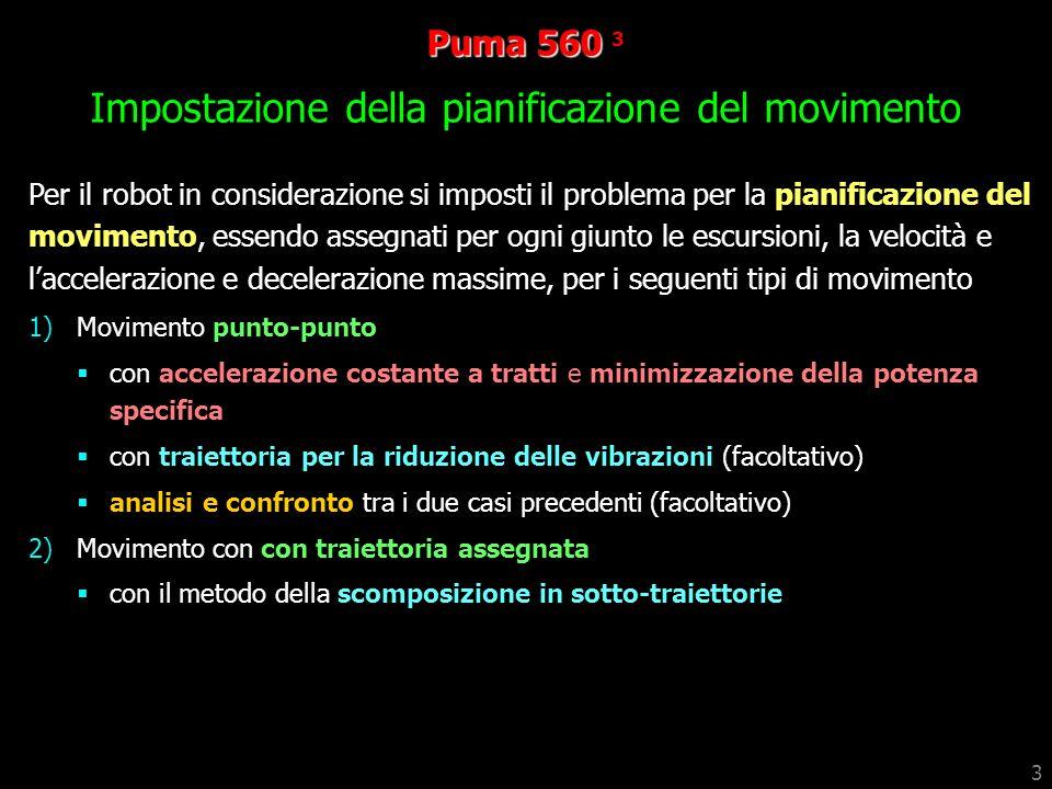 Puma 560 3 Impostazione della pianificazione del movimento