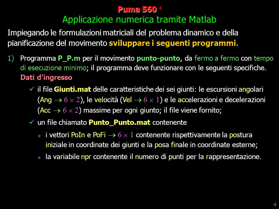 Puma 560 4 Applicazione numerica tramite Matlab