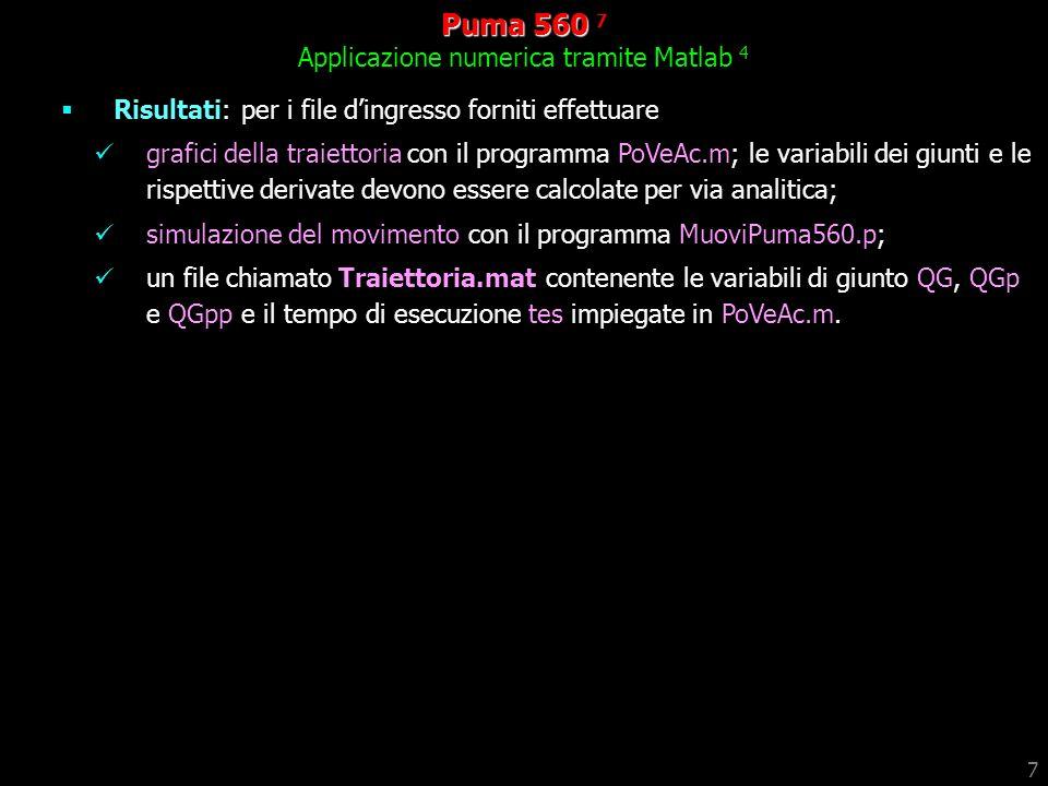 Puma 560 7 Applicazione numerica tramite Matlab 4