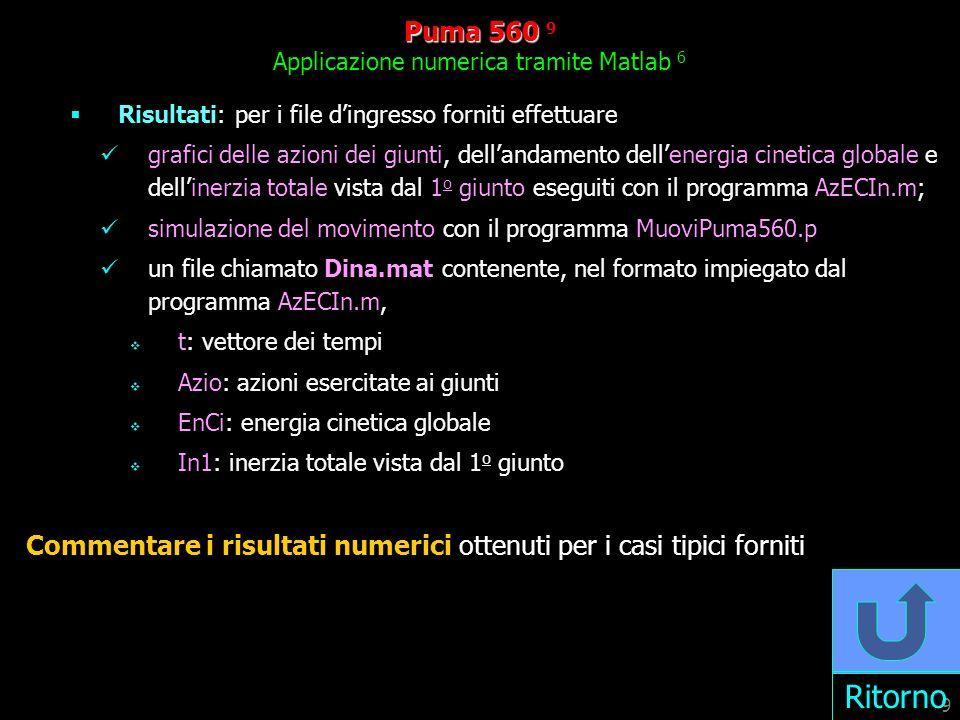 Puma 560 9 Applicazione numerica tramite Matlab 6