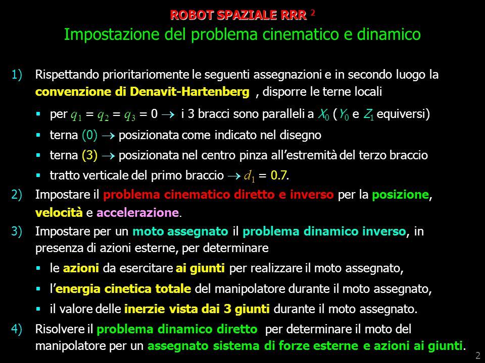 ROBOT SPAZIALE RRR 2 Impostazione del problema cinematico e dinamico