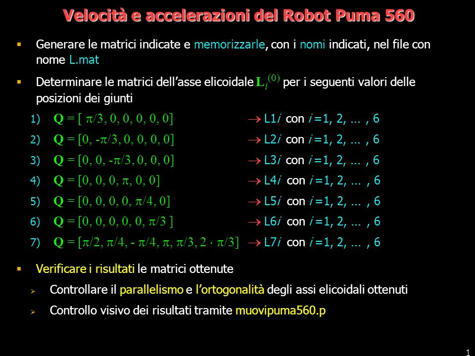 Velocità e accelerazioni del Robot Puma 560
