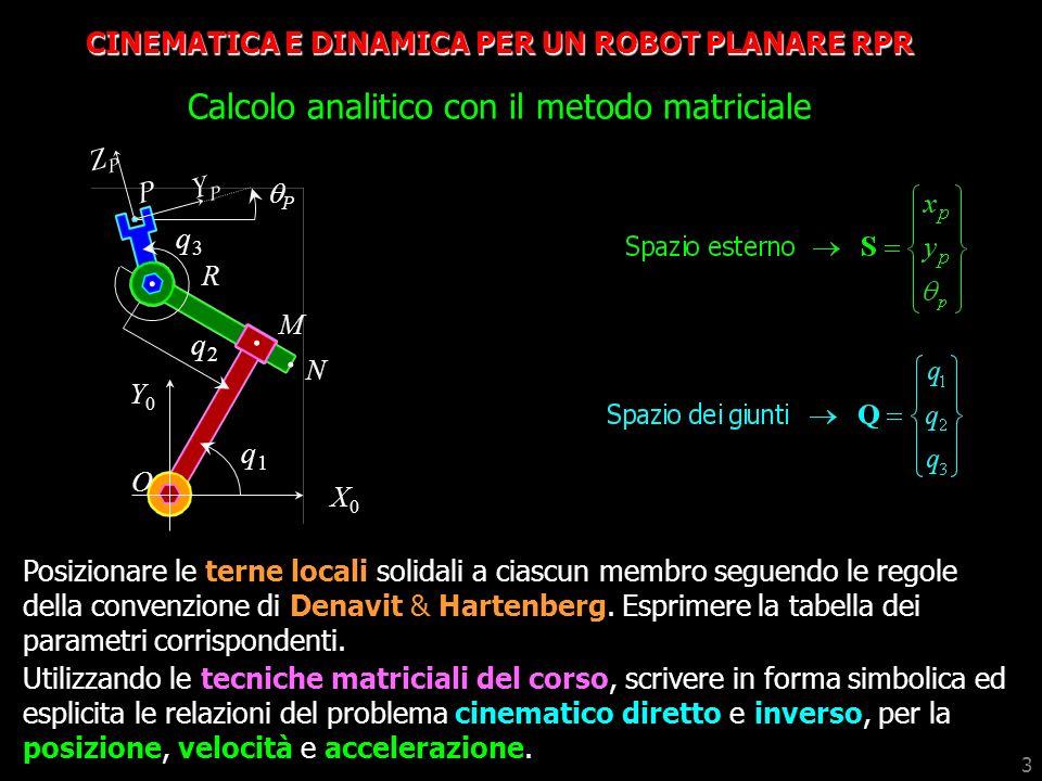 CINEMATICA E DINAMICA PER UN ROBOT PLANARE RPR Calcolo analitico con il metodo matriciale