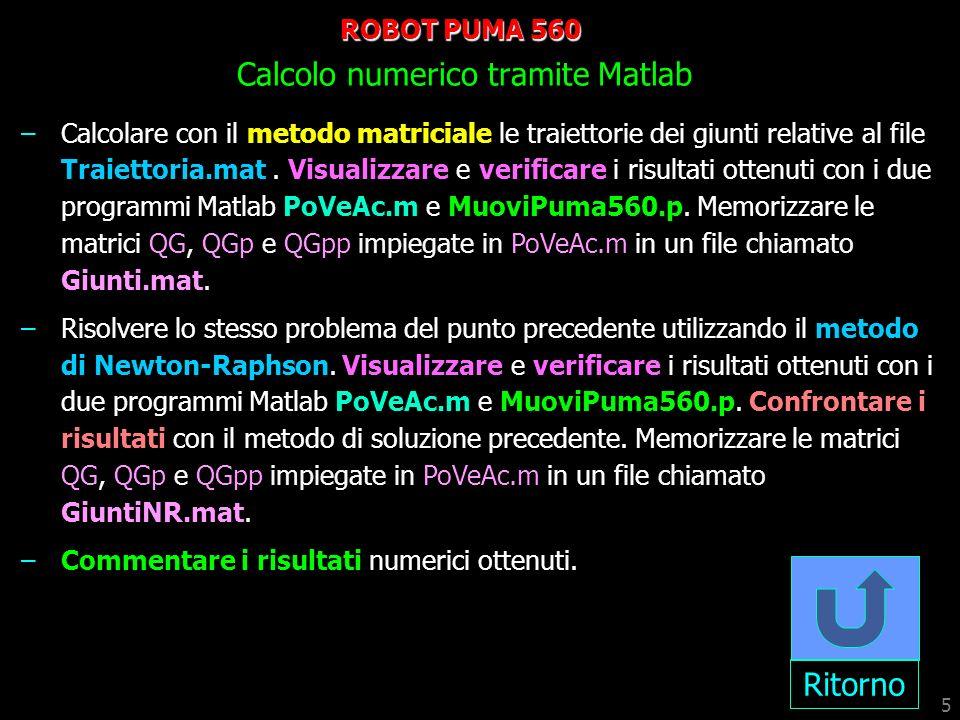 ROBOT PUMA 560 Calcolo numerico tramite Matlab