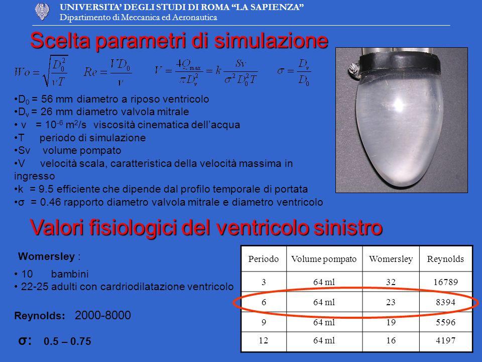 Scelta parametri di simulazione