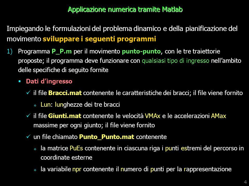 Applicazione numerica tramite Matlab