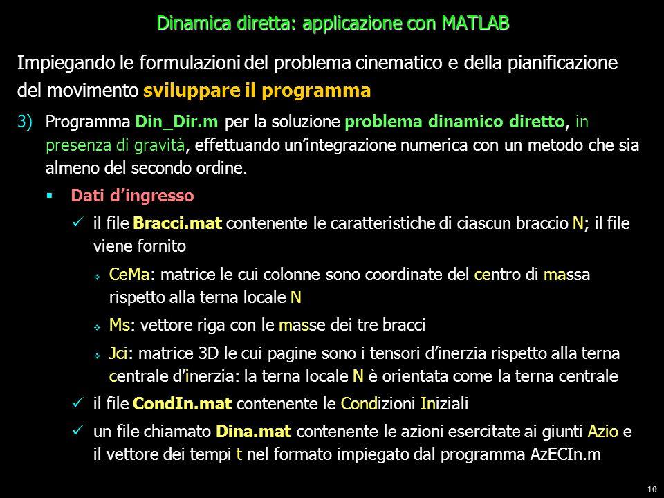 Dinamica diretta: applicazione con MATLAB