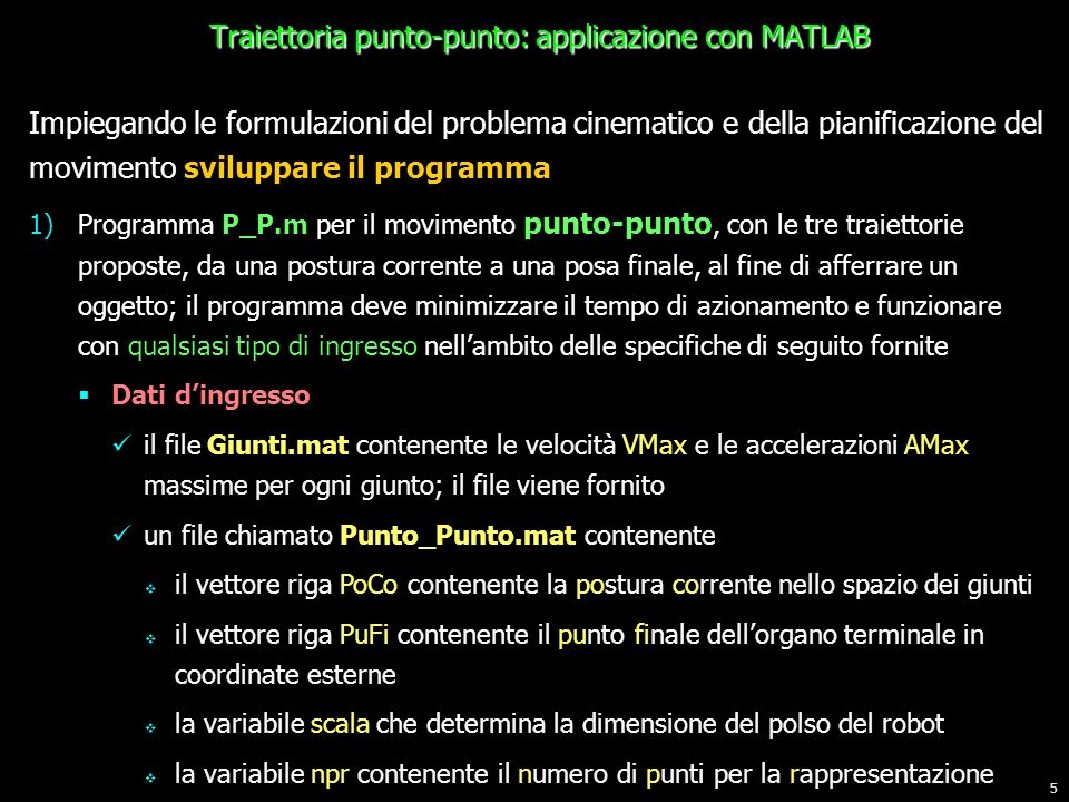 Traiettoria punto-punto: applicazione con MATLAB