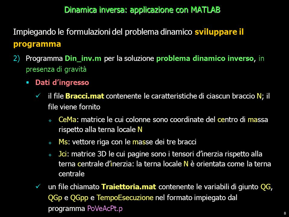 Dinamica inversa: applicazione con MATLAB