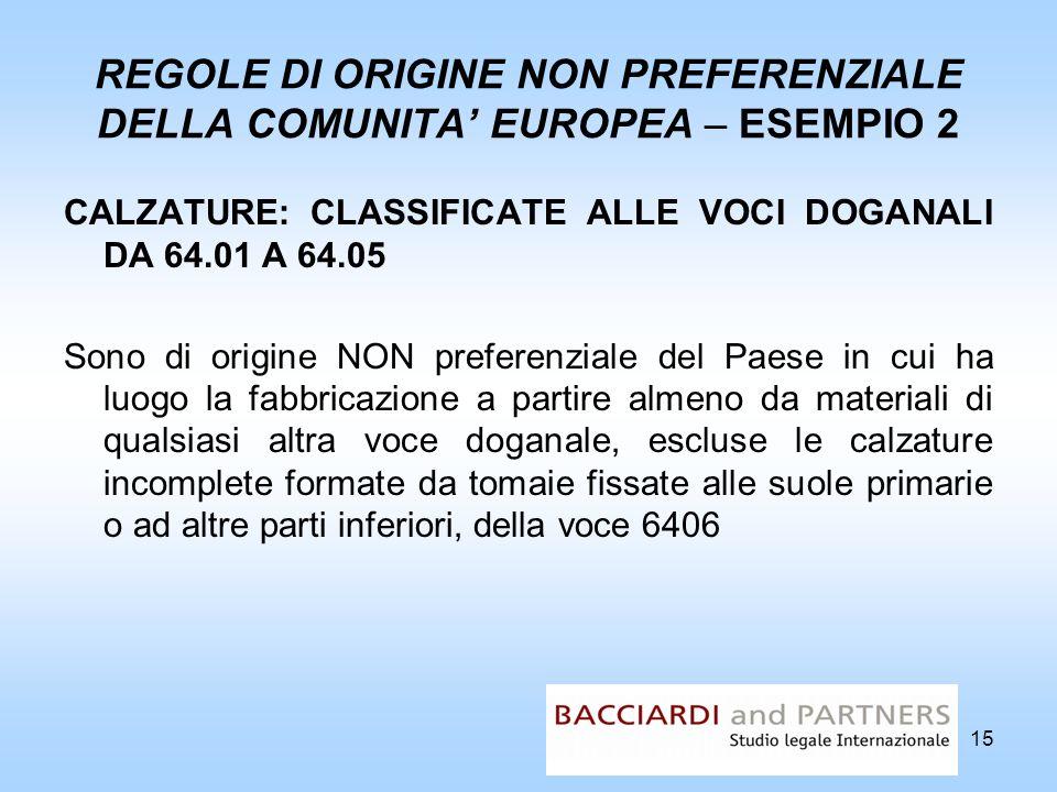 REGOLE DI ORIGINE NON PREFERENZIALE DELLA COMUNITA' EUROPEA – ESEMPIO 2
