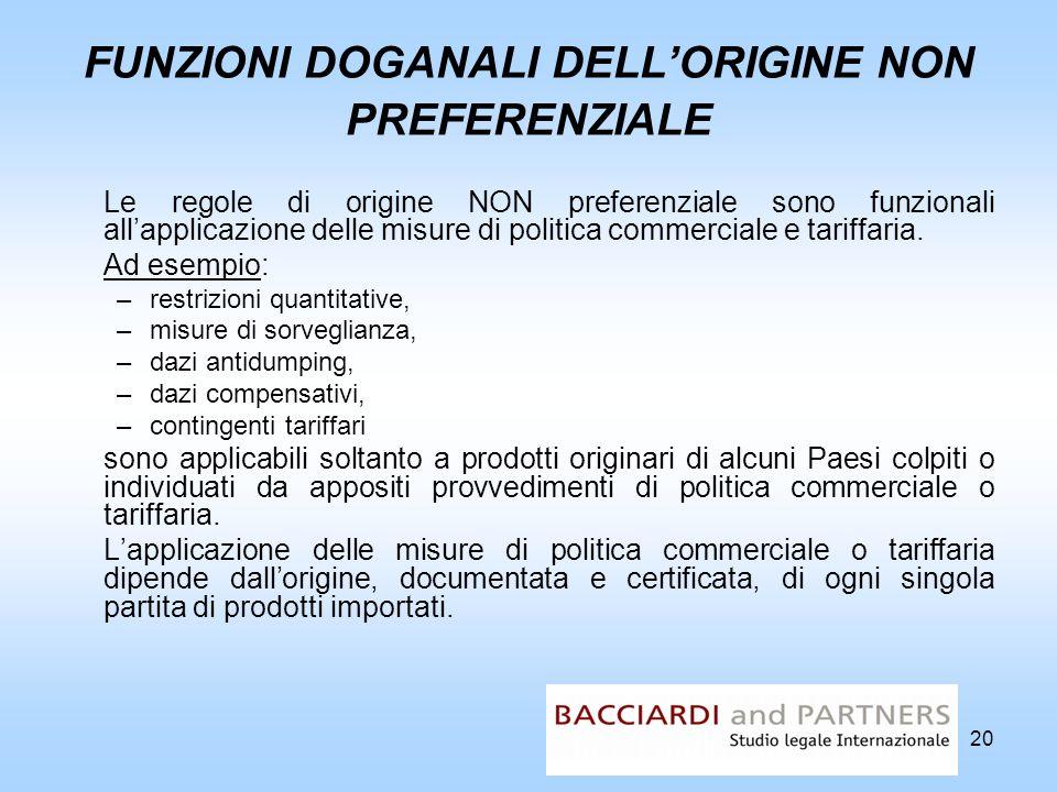 FUNZIONI DOGANALI DELL'ORIGINE NON PREFERENZIALE