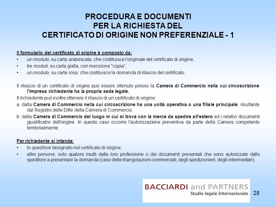 PROCEDURA E DOCUMENTI PER LA RICHIESTA DEL CERTIFICATO DI ORIGINE NON PREFERENZIALE - 1
