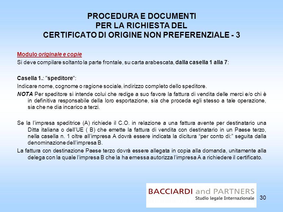 PROCEDURA E DOCUMENTI PER LA RICHIESTA DEL CERTIFICATO DI ORIGINE NON PREFERENZIALE - 3